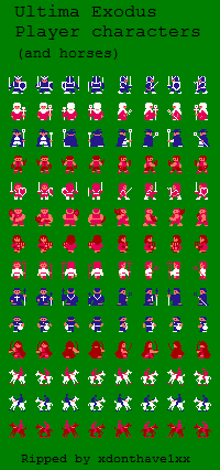 File:Ultima - Exodus - NES - Sprite Sheet - Player Characters.png