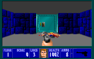 File:Wolfenstein 3-D - DOS - Screenshot - E1M1 Start.png