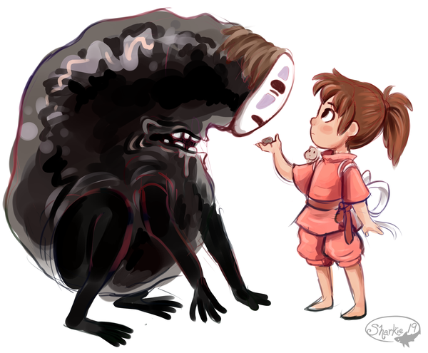 File:Spirited Away - Fan Art - Sharkie19 - No Face and Chihiro.png