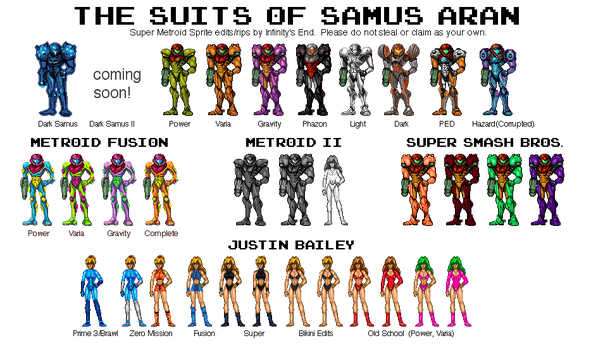 File:Metroid - Samus' Suits.png