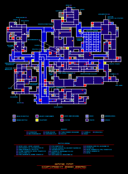 File:Castlevania - Circle of the Moon - GBA - Map - Items & Bosses.png