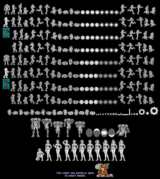 File:Metroid II - GB - Sprite Sheet - Samus.png